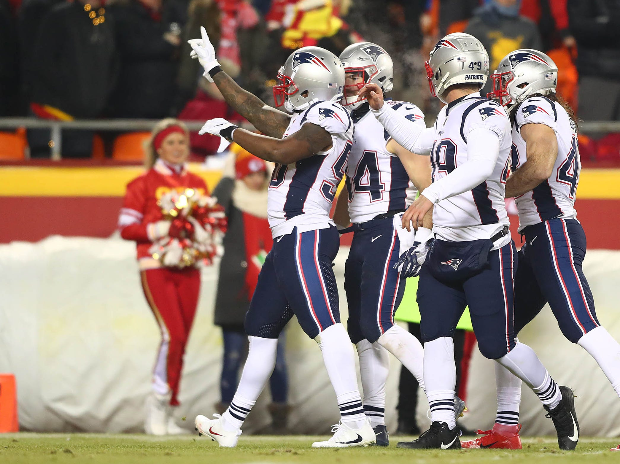 New England Patriots linebacker Ramon Humber (50) reacts during the second half of the AFC Championship Game against the Kansas City Chiefs at Arrowhead Stadium.