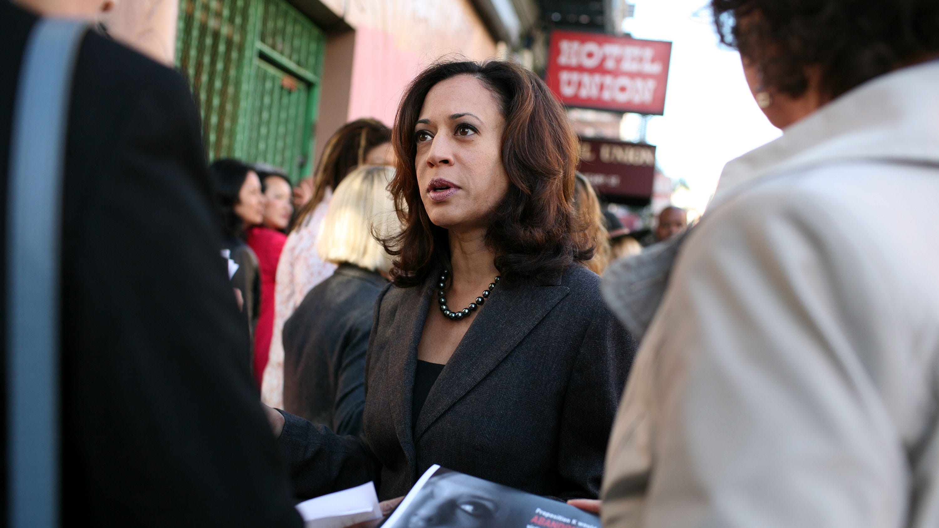 San Francisco District Attorney Kamala Harris speaks to supporters before a No on K press conference October 29, 2008 in San Francisco. San Francisco ballot measure Proposition K seeks to stop enforcing laws against prostitution.