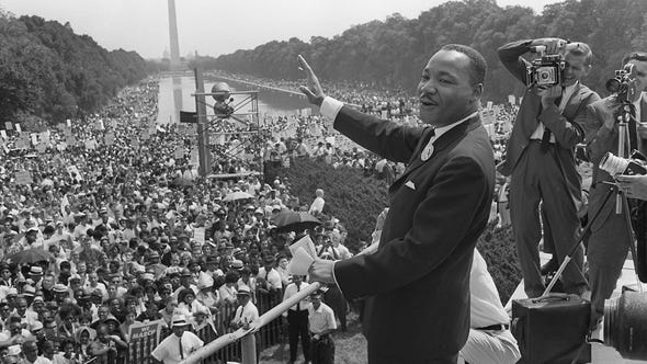 Martin Luther King Jr. told the March on Washington for Jobs and Freedom 'I have a dream'. (Aug. 28)
