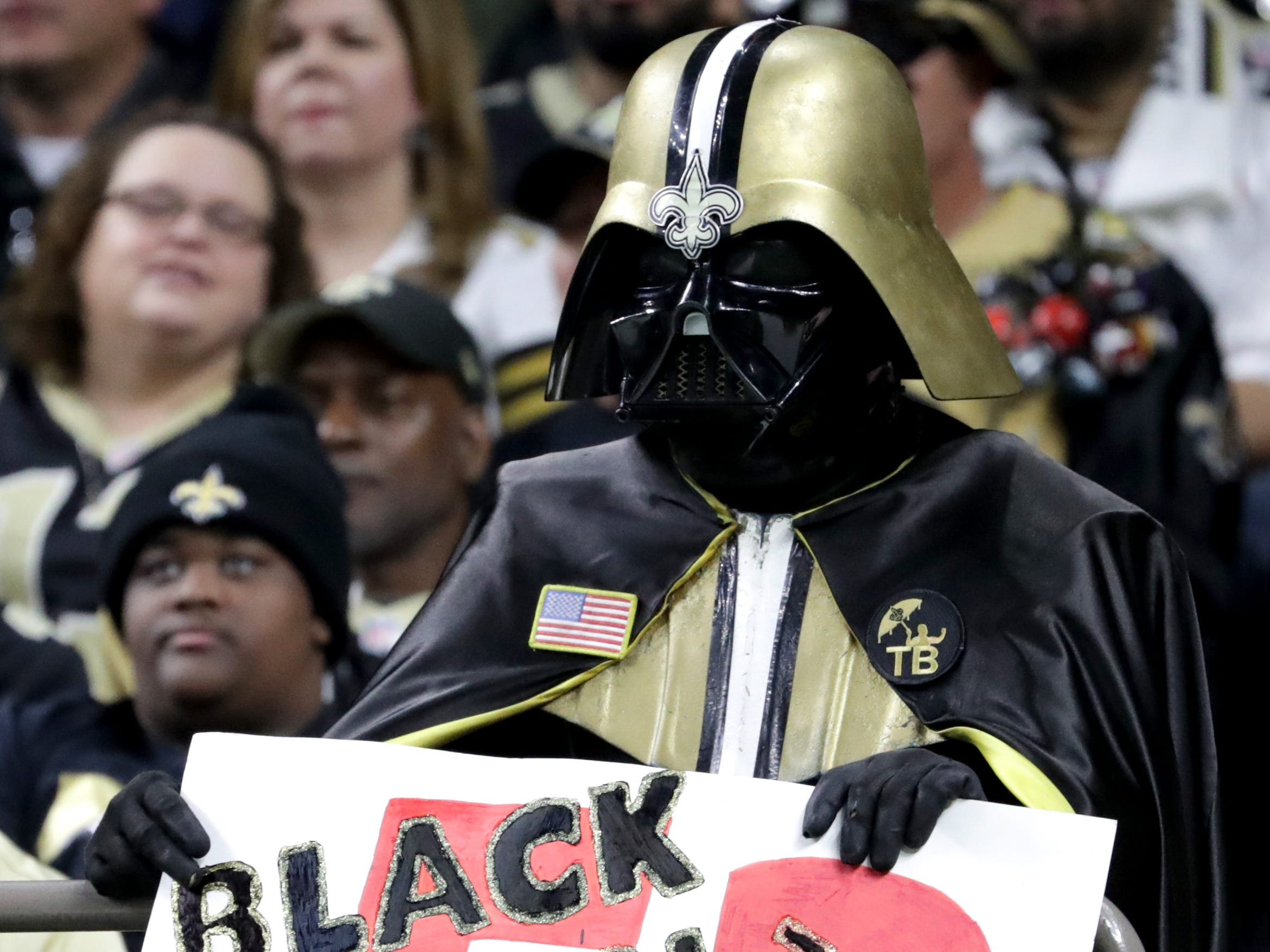 A New Orleans Saints fan reacts during the NFC Championship at Mercedes-Benz Superdome.