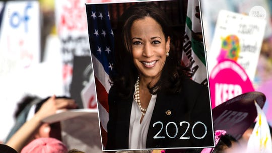 Sign with Sen. Kamala Harris' photo hints at a 2020 presidential bid