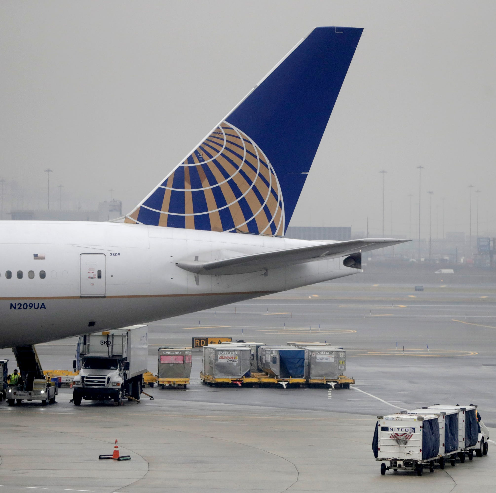 A luggage cart rolls near a United Airlines jet at Newark Liberty International Airport, Tuesday, in Newark, New Jersey. A flight leaving the airport over the weekend made an emergency stop in Canada, stranding passengers for hours.
