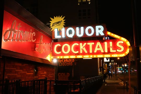 The neon sign for Atomic Liquors, the oldest free-standing bar in Las Vegas.