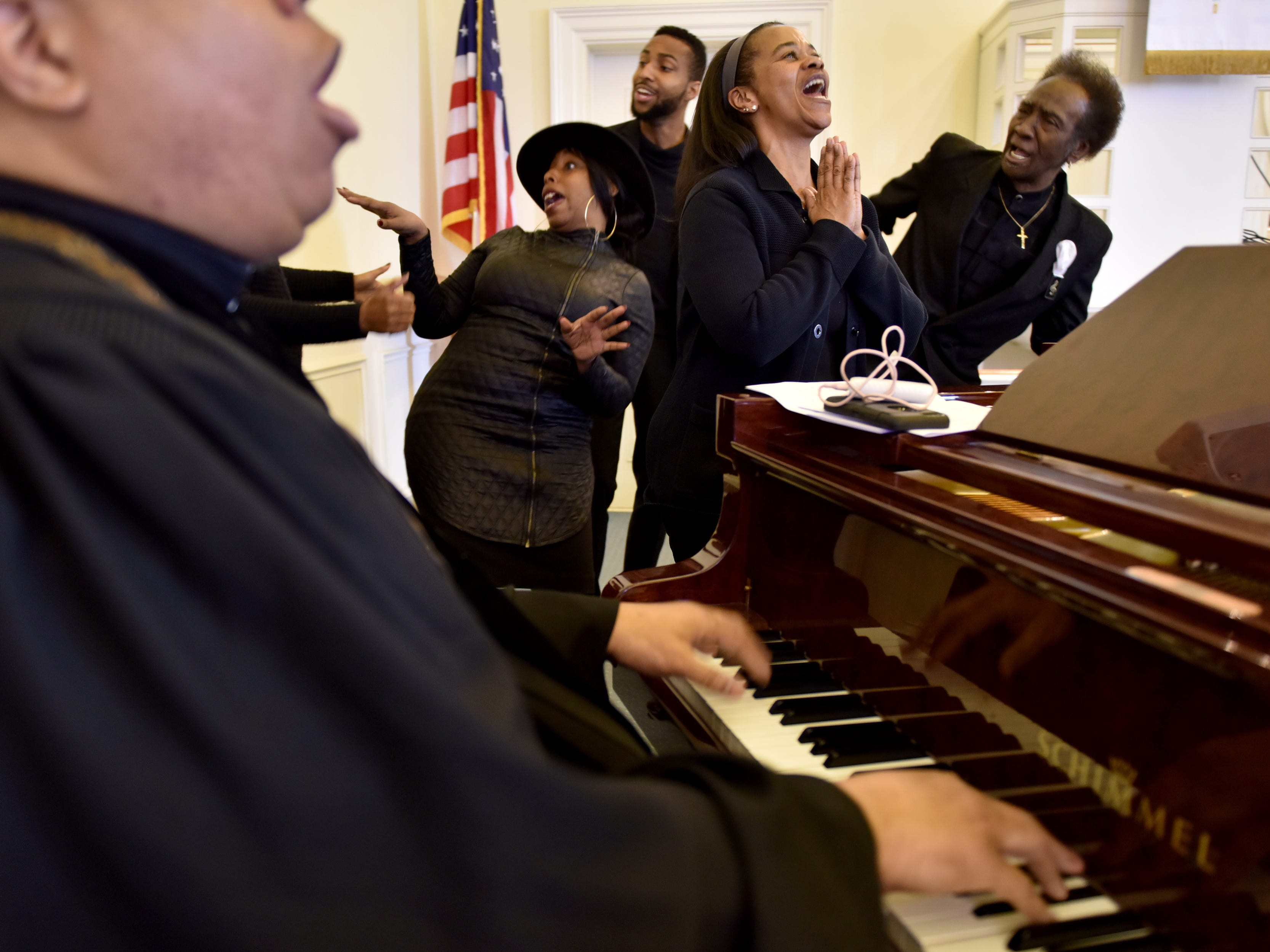 Rev. Mark Brandon and The Connection of the Metropolitan A.M.E. Zion Church in  Ridgewood, N.J. perform during their celebration.
