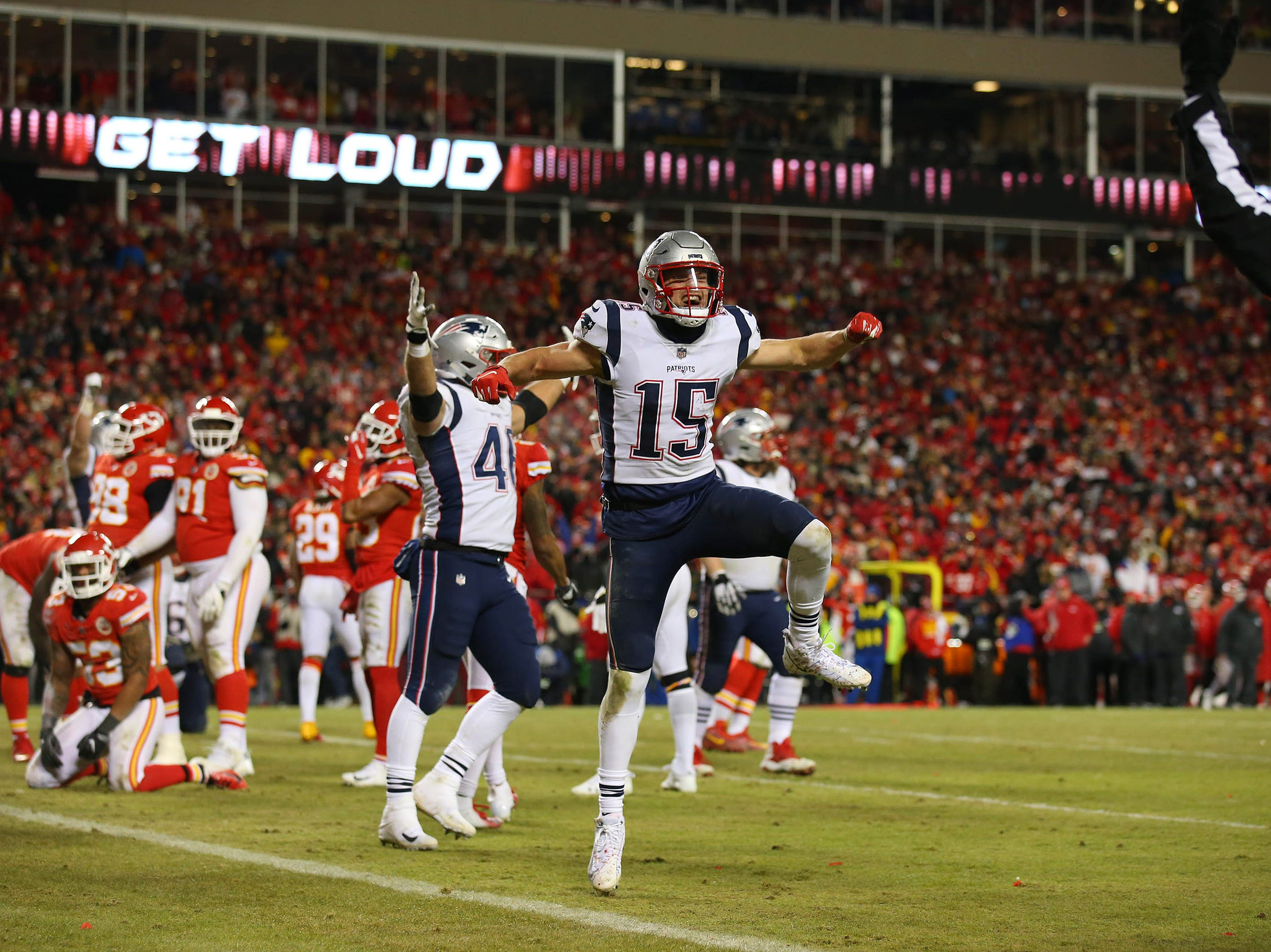 New England Patriots wide receiver Chris Hogan (15) celebrates during the second half of the AFC Championship Game against the Kansas City Chiefs at Arrowhead Stadium.