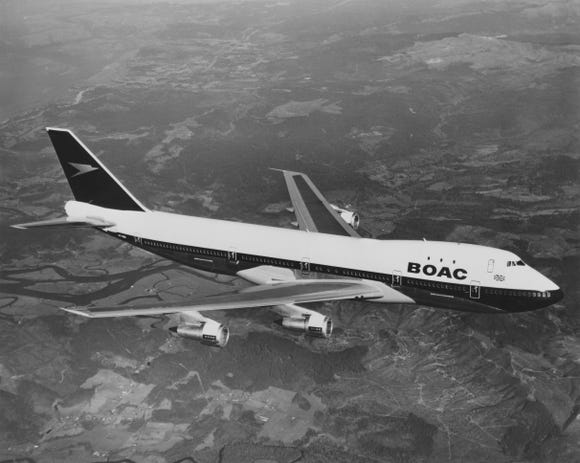 This photo from April 7, 1971, shows a Boeing 747 of British Airways predecessor BOAC (British Overseas Airways Corporation) flying above the United Kingdom.