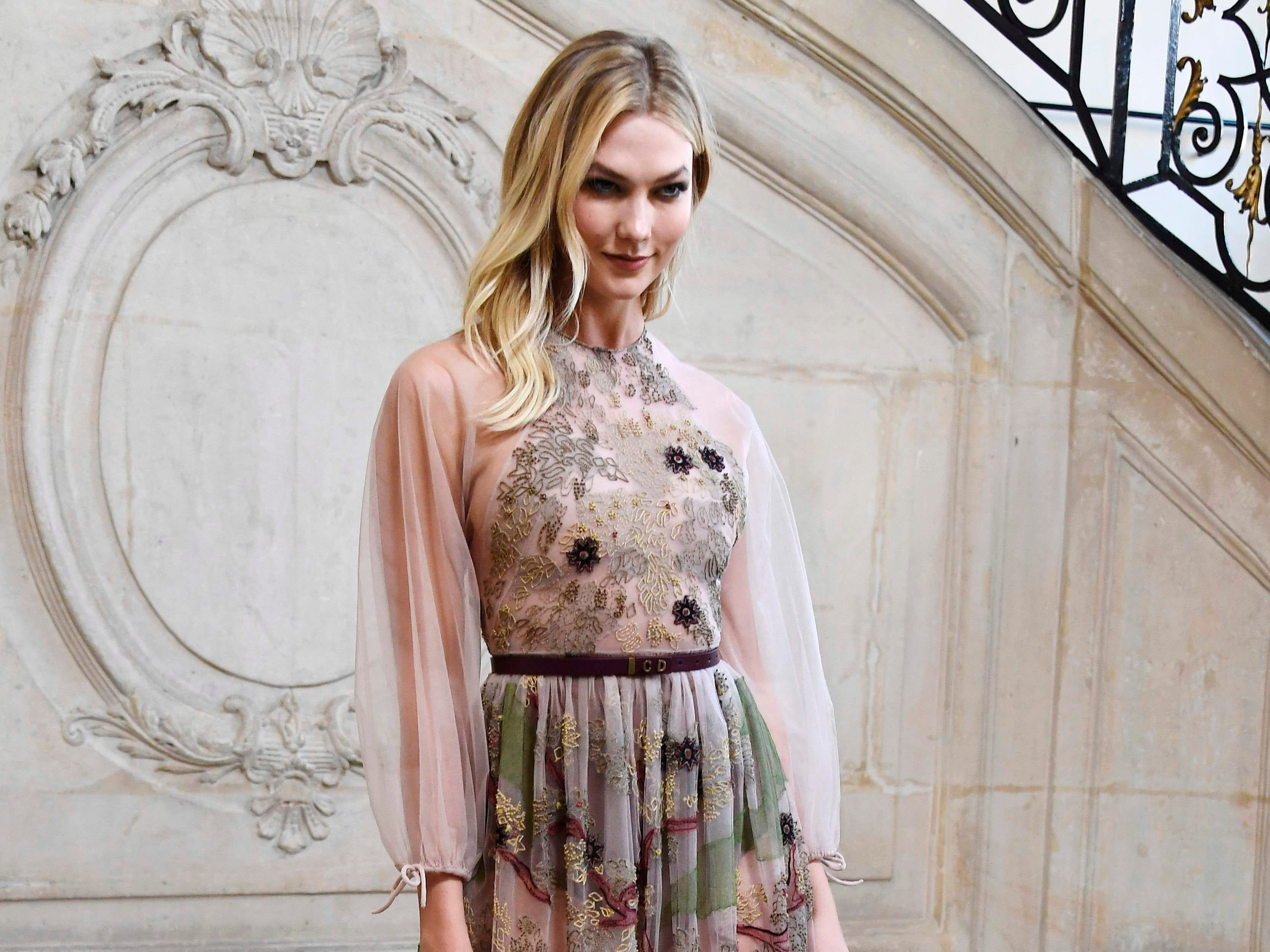 US model Karlie Kloss poses during a photocall prior to the 2019 Spring-Summer Haute Couture collection fashion show by Christian Dior in Paris, on January 21, 2019. (Photo by Anne-Christine POUJOULAT / AFP)ANNE-CHRISTINE POUJOULAT/AFP/Getty Images ORIG FILE ID: AFP_1CG6C7