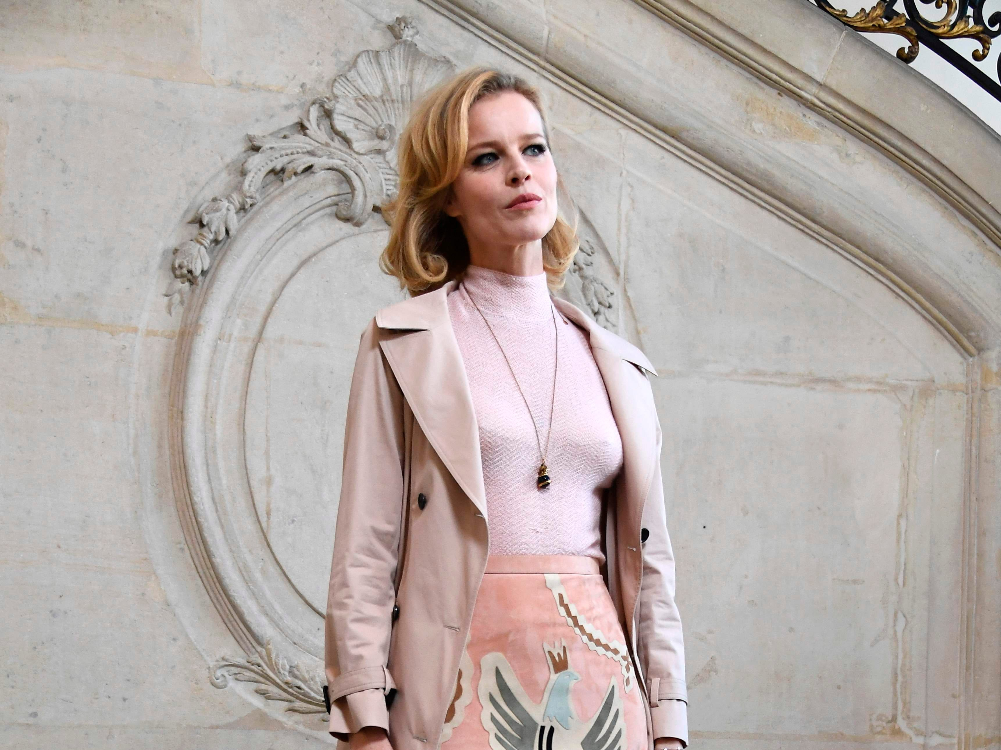 Eva Czech model and actress Eva Herzigova poses during a photocall prior to the 2019 Spring-Summer Haute Couture collection fashion show by Christian Dior in Paris, on January 21, 2019. (Photo by Anne-Christine POUJOULAT / AFP)ANNE-CHRISTINE POUJOULAT/AFP/Getty Images ORIG FILE ID: AFP_1CG6EL