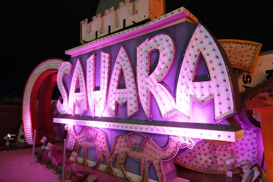 The sign for the Sahara Hotel, one of the earliest hotels in Las Vegas.