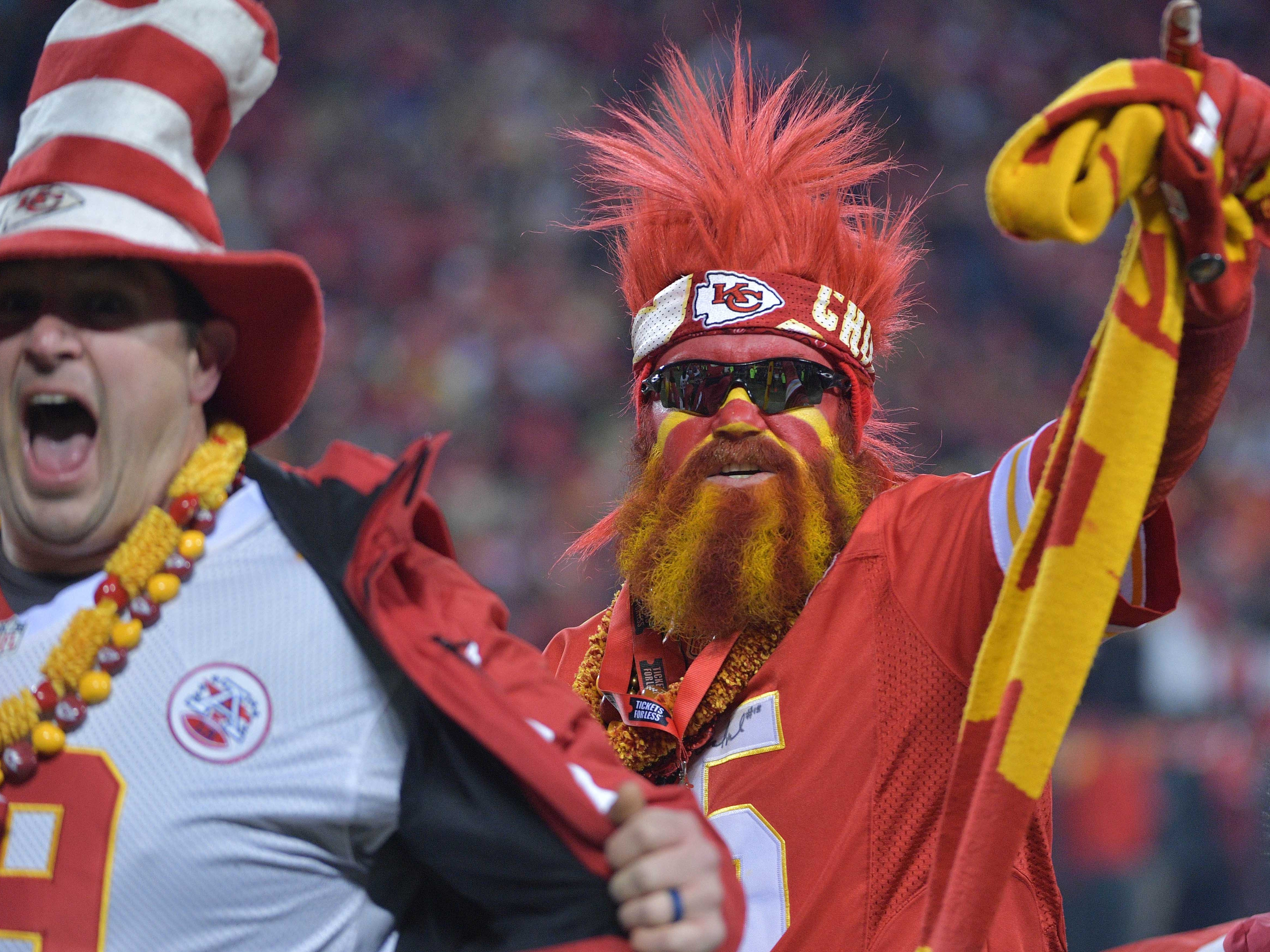 Kansas City Chiefs fans look on during the first quarter of the AFC Championship Game at Arrowhead Stadium.