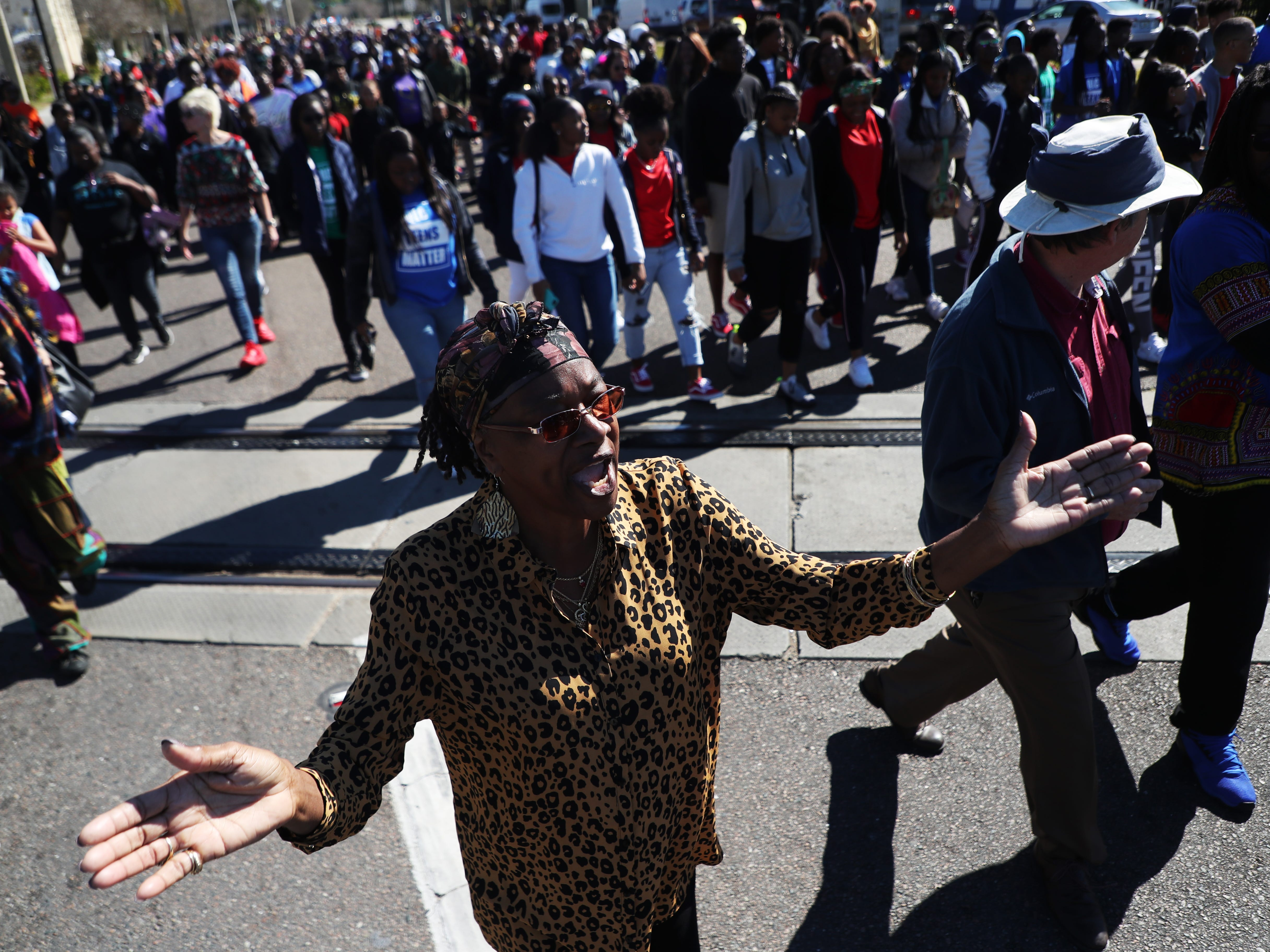 Pamela Royal-Greene participates in the annual Martin Luther King Jr. Commemorative March in Fort Myers, Fla.