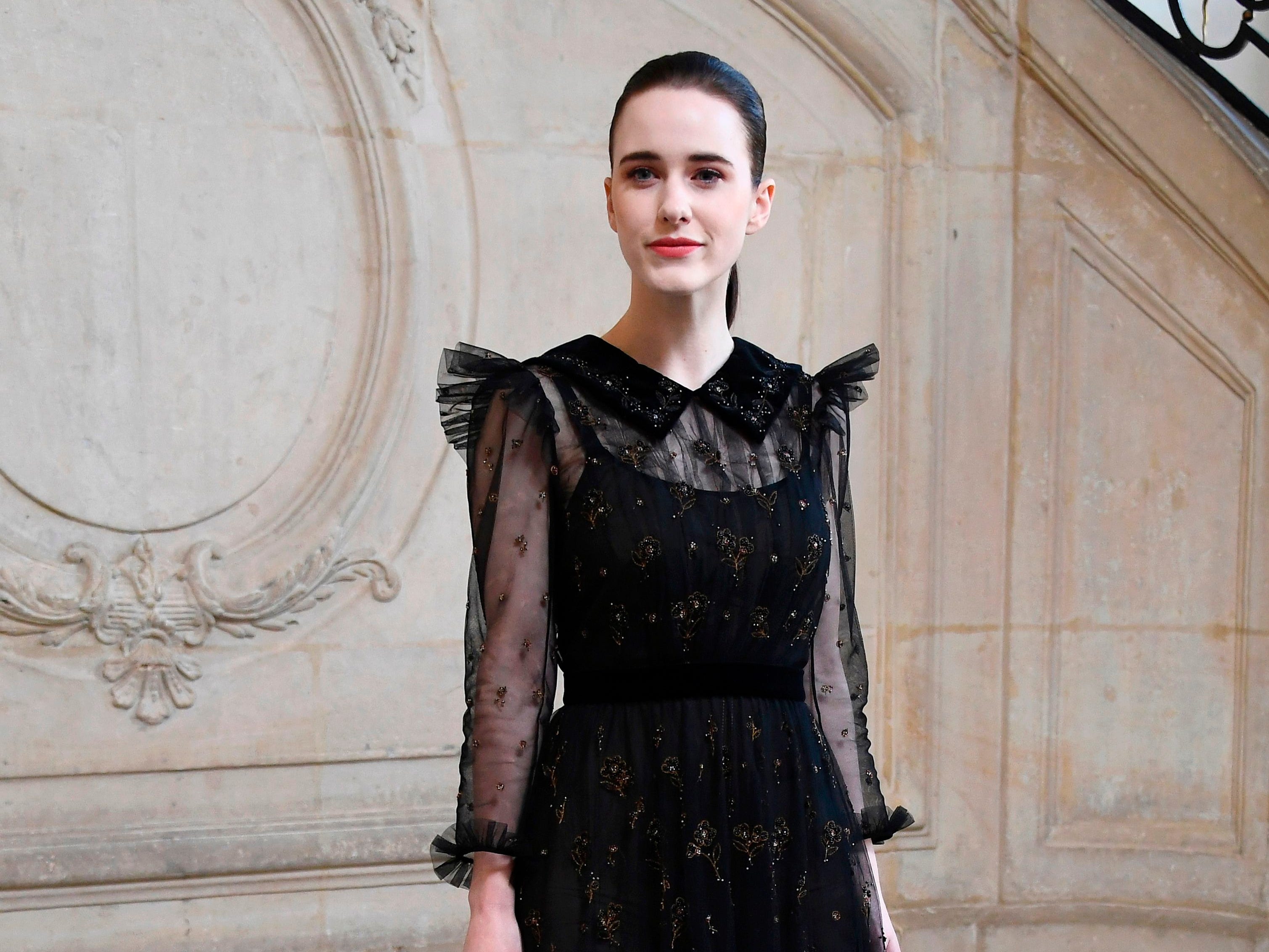 US actress Rachel Brosnahan poses during a photocall prior to the 2019 Spring-Summer Haute Couture collection fashion show by Christian Dior in Paris, on January 21, 2019. (Photo by Anne-Christine POUJOULAT / AFP)ANNE-CHRISTINE POUJOULAT/AFP/Getty Images ORIG FILE ID: AFP_1CG6KG