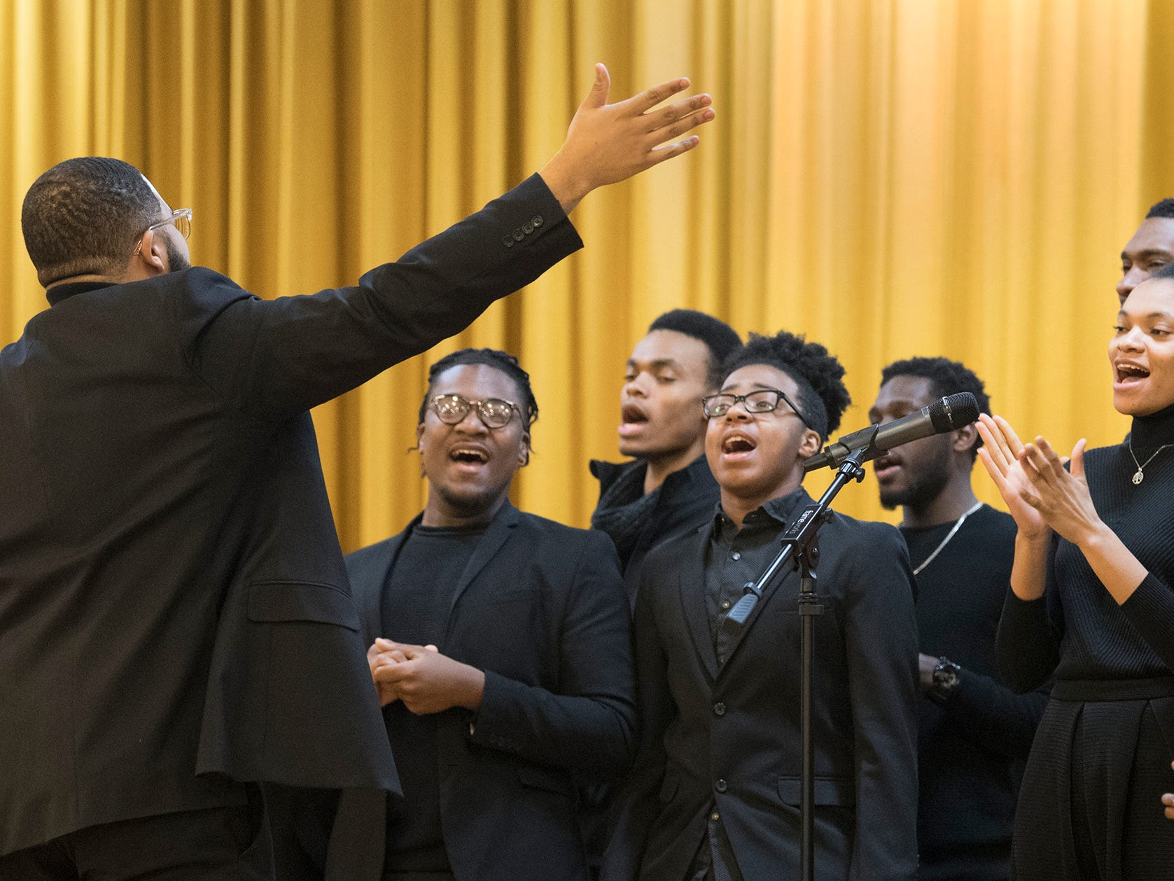 The Temple of Grace Ministries choir performs music during the 37th annual MLK Day of Service at Crispus Attucks Community Center in York, PA. .