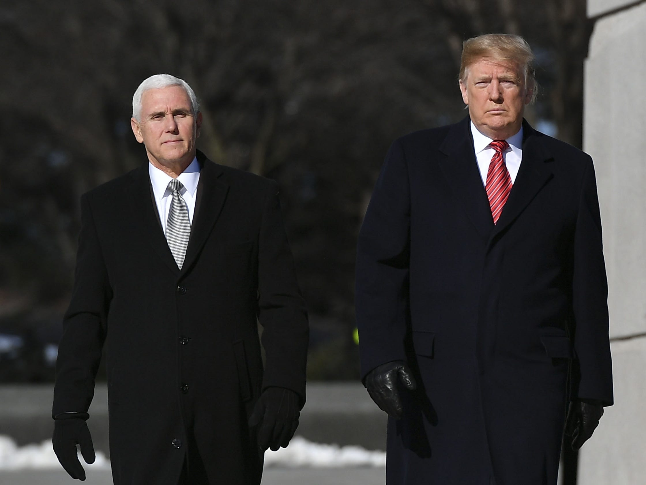 President Donald Trump and Vice President Mike Pence visit the Martin Luther King Jr. Memorial in Washington, DC on Martin Luther King Day  Jan.  21, 2019.