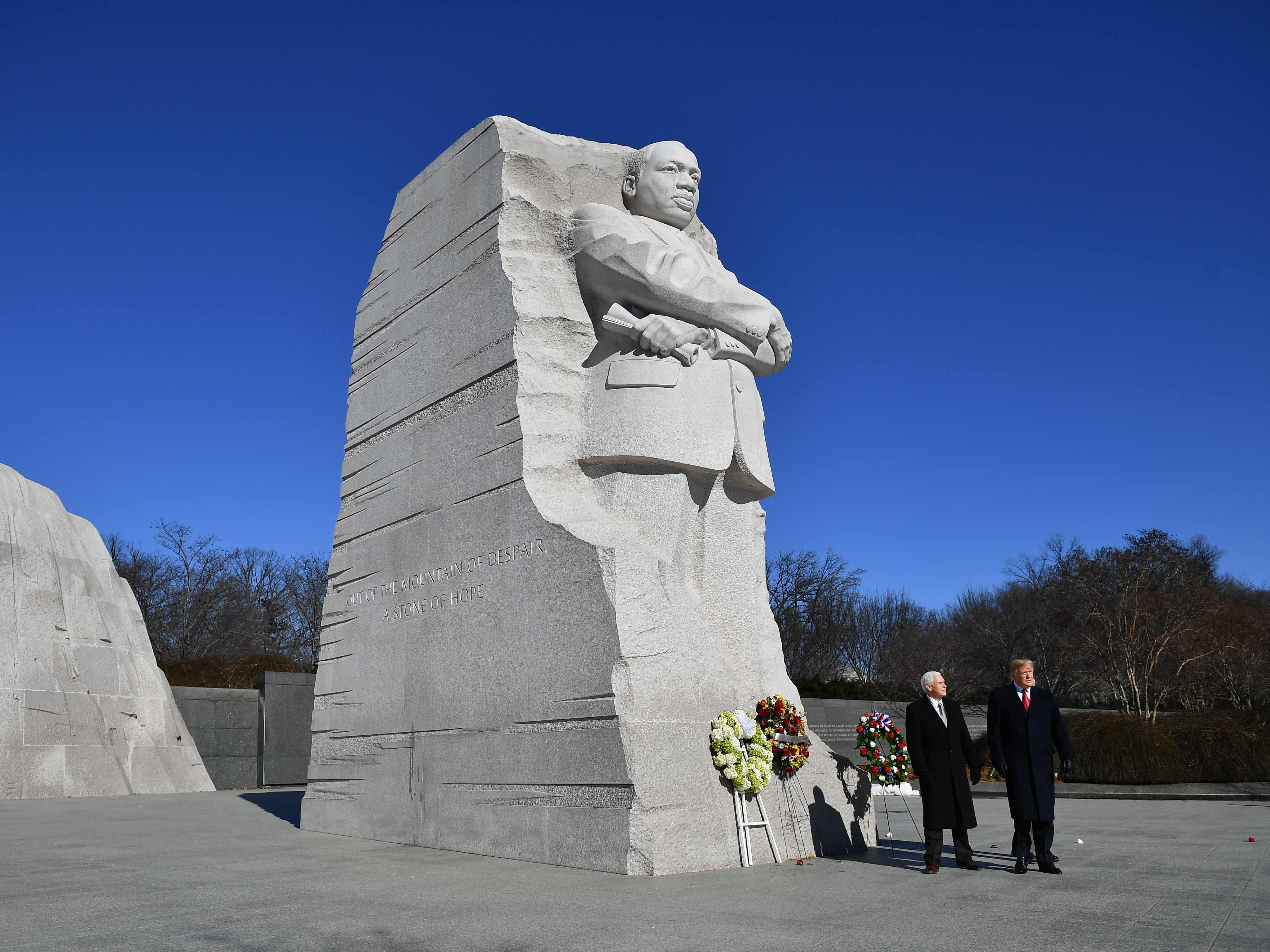 President Donald Trump and Vice President Mike Pence visit the Martin Luther King Jr. Memorial in Washington, DC on Martin Luther King Day on Jan.21, 2019.