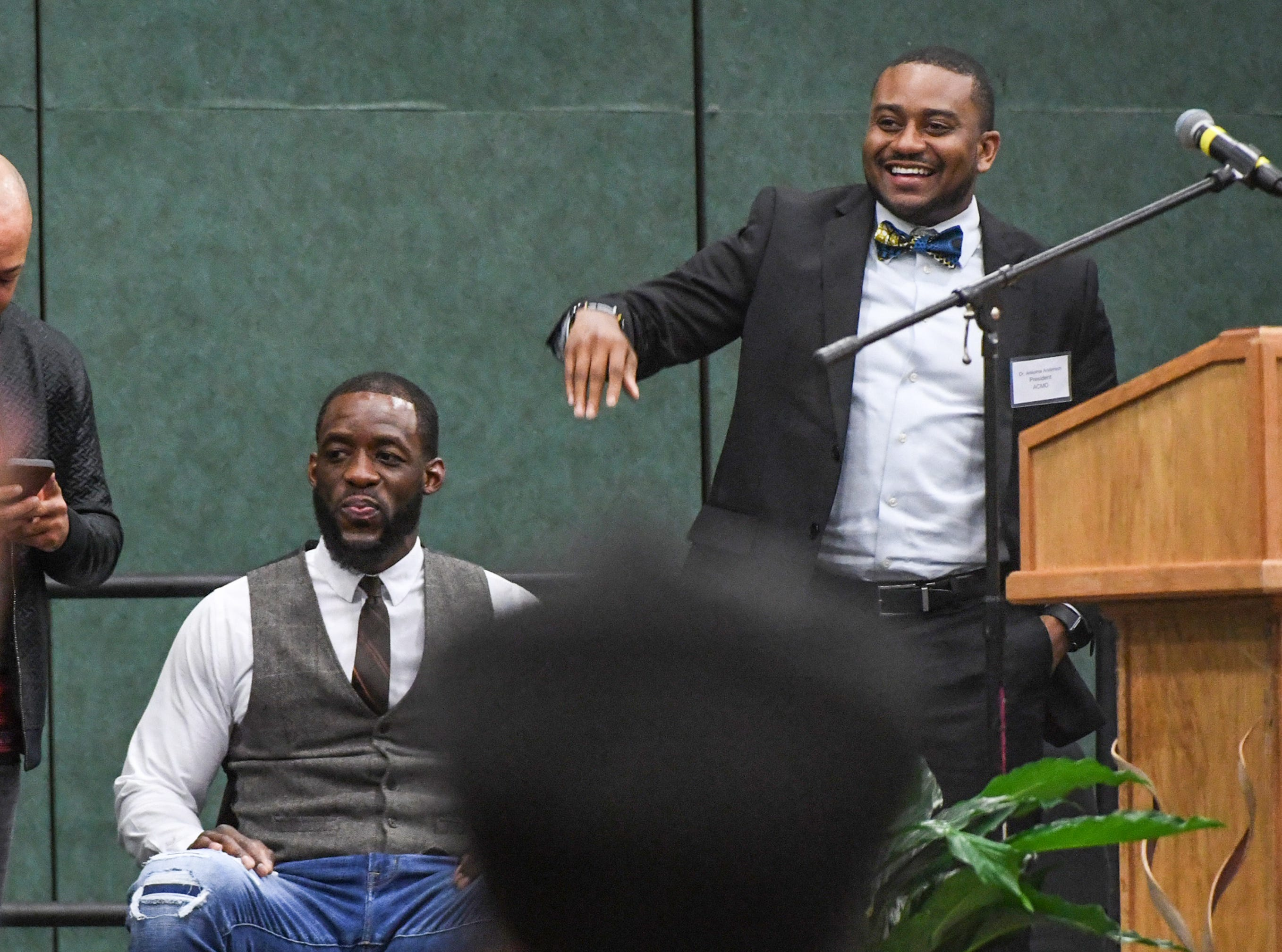 Cyrus Birch of Charleston, left, an stunt performer as a Jabari warrior in Marvel Studio's Black Panther, and Dr. Ankoma Anderson, right, of Welfare Baptist Church, during the Anderson County Martin Luther King, Jr. Celebration in Anderson January 21, 2019.