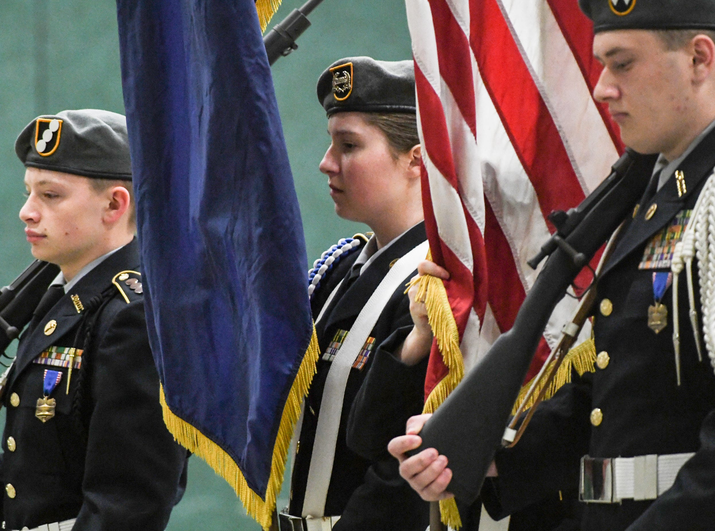Westside High School JROTC Color Guard during the Anderson County Martin Luther King, Jr. Celebration in Anderson January 21, 2019. This yearÕs keynote speaker is Cyrus Birch, Charleston native and community activist, who works as a model and stunt performer, seen as a Jabari warrior in the megahit ÒBlack Panther.Ó
