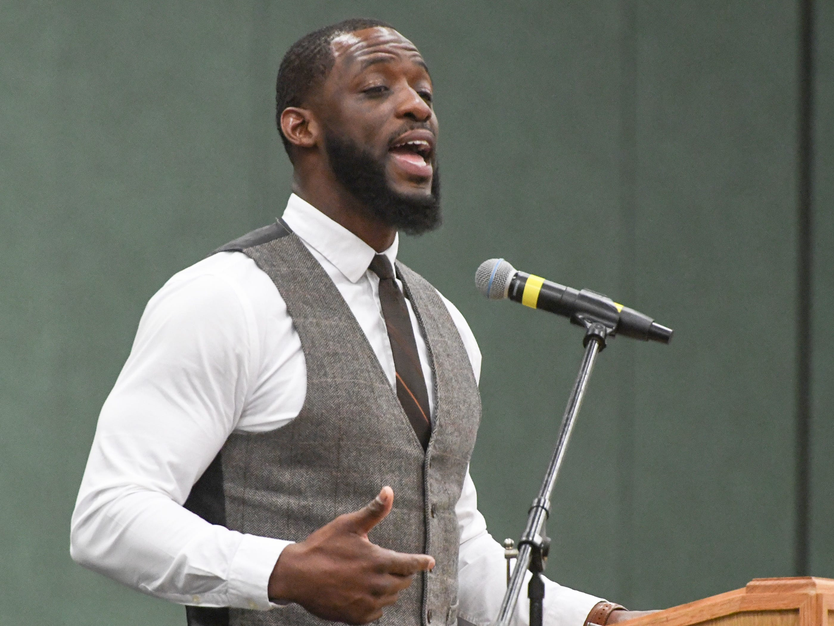 Cyrus Birch of Charleston, an stunt performer as a Jabari warrior in Marvel Studio's Black Panther, speaks during the Anderson County Martin Luther King, Jr. Celebration in Anderson January 21, 2019.