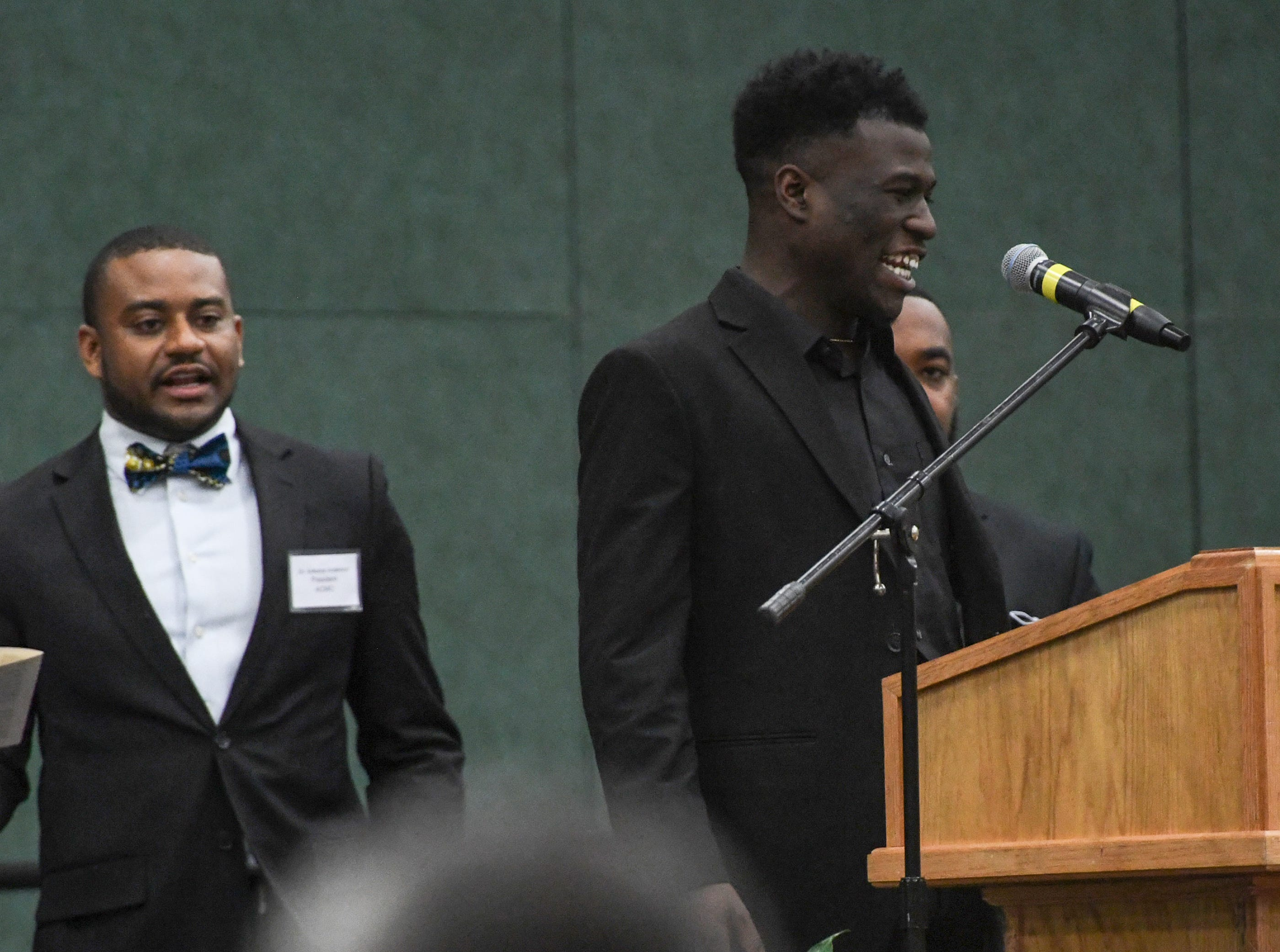 Malek McDuffie speaks during the Anderson County Martin Luther King, Jr. Celebration in Anderson January 21, 2019. This yearÕs keynote speaker is Cyrus Birch, Charleston native and community activist, who works as a model and stunt performer, seen as a Jabari warrior in the megahit ÒBlack Panther.Ó