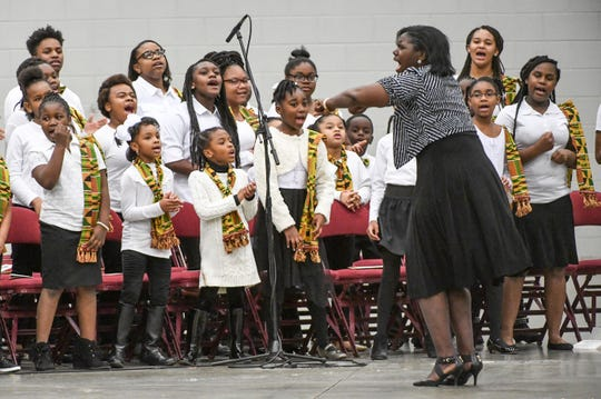 """The Voices of Hope Youth Community Choir, led by Lynn Smith, perform """"Do Not Pass Me By"""" during the Anderson County Martin Luther King, Jr. Celebration in Anderson January 21, 2019. This yearÕs keynote speaker is Cyrus Birch, Charleston native and community activist, who works as a model and stunt performer, seen as a Jabari warrior in the megahit ÒBlack Panther.Ó"""