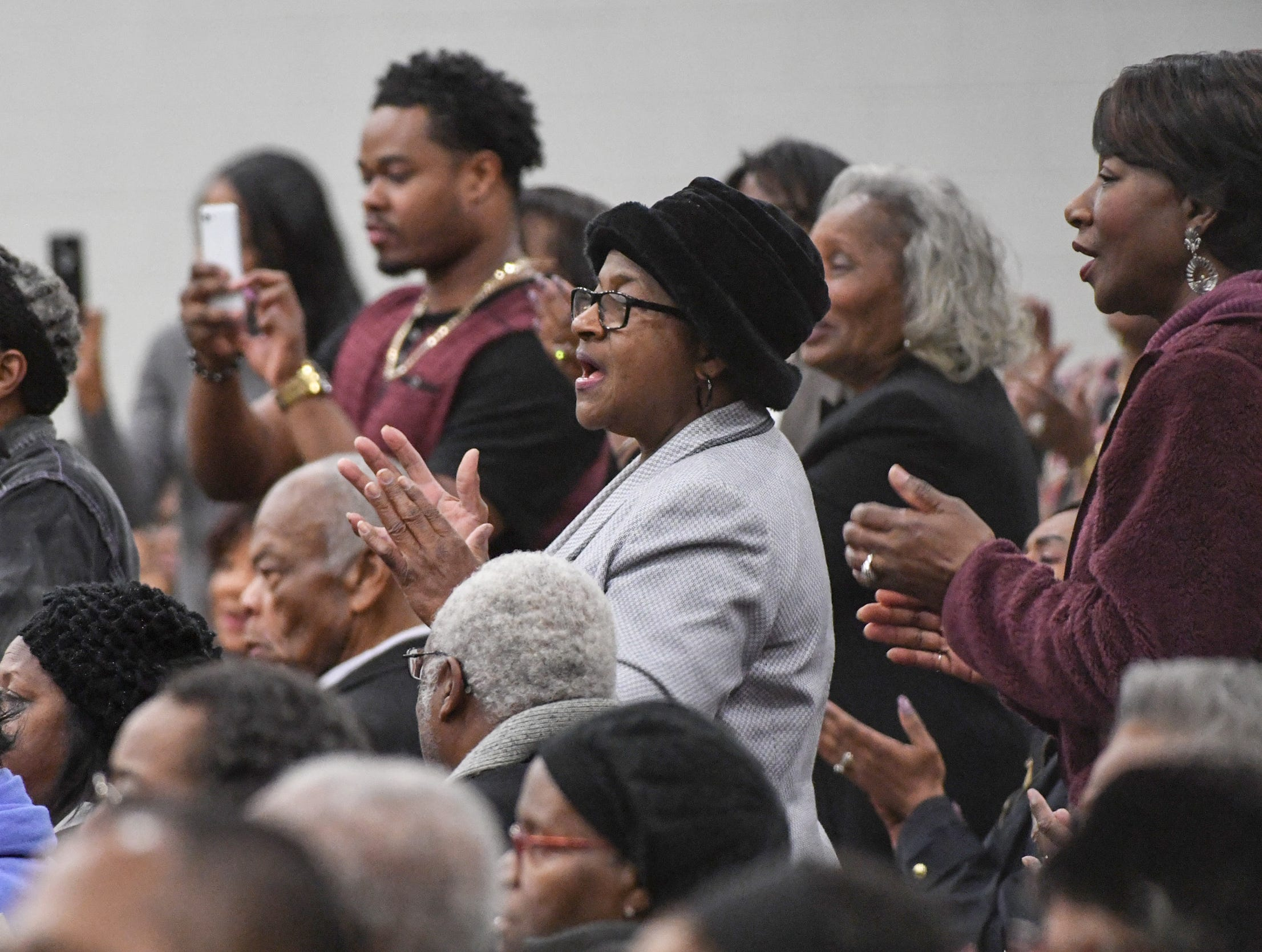 The audience claps as the Anderson University West African Ensemble perform during the Anderson County Martin Luther King, Jr. Celebration in Anderson January 21, 2019. This yearÕs keynote speaker is Cyrus Birch, Charleston native and community activist, who works as a model and stunt performer, seen as a Jabari warrior in the megahit ÒBlack Panther.Ó