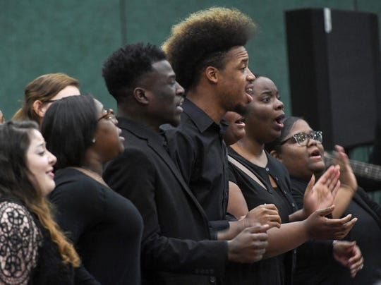 The Anderson University West African Ensemble perform during the Anderson County Martin Luther King, Jr. Celebration in Anderson January 21, 2019. This yearÕs keynote speaker is Cyrus Birch, Charleston native and community activist, who works as a model and stunt performer, seen as a Jabari warrior in the megahit ÒBlack Panther.Ó