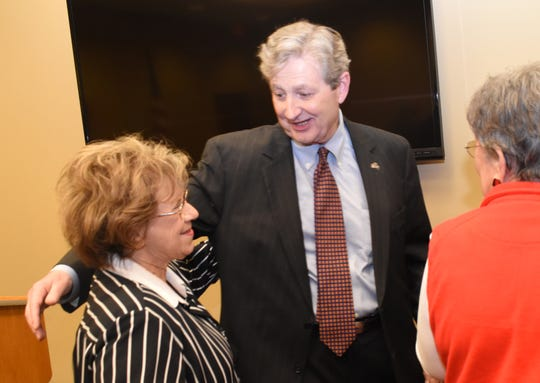 U.S. Sen. John Kennedy proceeds to hug Town of Ball alderwoman Gail Wilking. Kennedy was in Alexandria Tuesday, Jan. 22, 2019 to meet with members of the Central Louisiana Chamber of Commerce.