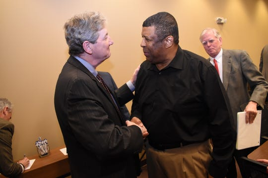 Louisiana U.S.Sen.John Kennedy (left) greets Ben Jack at the Central Louisiana Chamber of Commerce boardroom where Kennedy addressed and answered questions from chamber members Tuesday, Jan. 22, 2019.