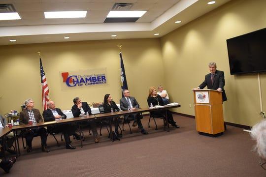 Louisiana U.S. Sen. John Kennedy (right) addresses members of the Central Louisiana Chamber of Commerce Tuesday, Jan.22, 2019.