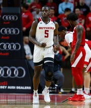 Rutgers Scarlet Knights forward Eugene Omoruyi (5) returns against Nebraska Cornhuskers.