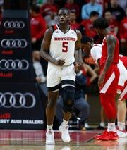 Rutgers Scarlet Knights forward Eugene Omoruyi (5) returns against Nebraska Cornhuskers.