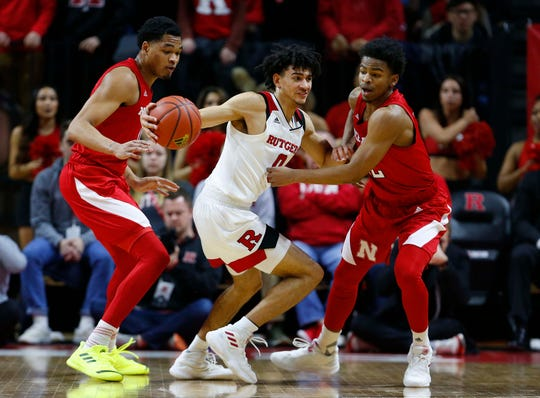 Nebraska Cornhuskers defend against Rutgers Scarlet Knights guard Geo Baker (0) during the first half at Rutgers Athletic Center (RAC).