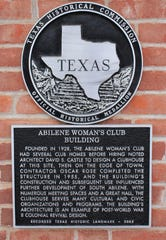 A historical marker notes the founding and contributions of the Abilene Woman's Club.