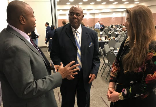 From left, Mayor Anthony Williams, Petty Hunter and Elizabeth Smyser, representing the Taylor County Democratic Party, talk before Monday evening's annual Martin Luther King Jr. Citywide Banquet at the Abilene Convention Center. Hunter has been involved with the NAACP, I-Can and Community Foundation of Abilene over the years.