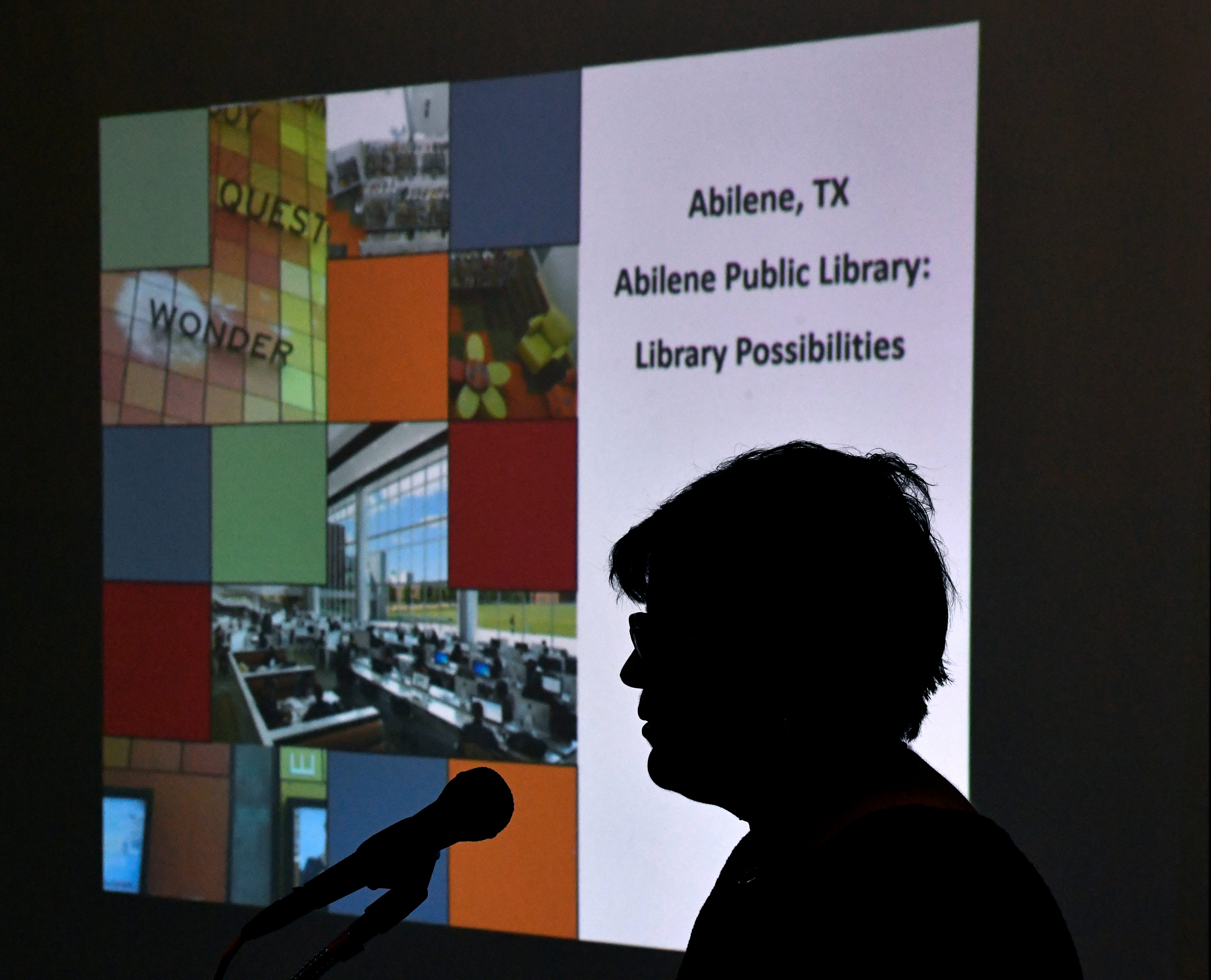 Maureen Arndt, owner and chief architect of 720 Design, is silhouetted by her slide presentation at The Grace Museum on Jan. 16.
