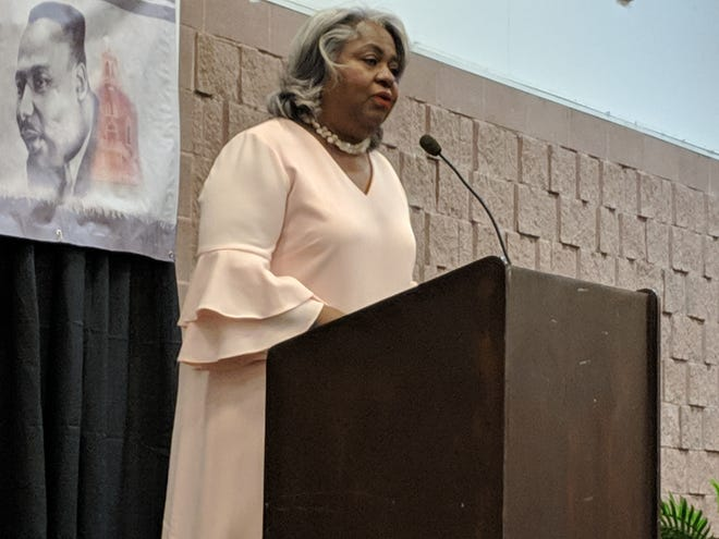 "Texas House Rep. Barbara Gervin-Hawkins, D-San Antonio, served as keynote speaker at the Abilene Black Chamber of Commerce's Martin Luther King Jr. Citywide Banquet Monday, Jan. 21, 2019. Gervin-Hawkins spoke about the value of education while mixing in some stories about her youth, growing up in Detroit, Michigan, alongside San Antonio Spurs legend, and NBA Hall-of-Famer, George ""Iceman"" Gervin."