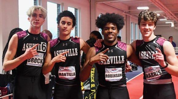 Trevon Robinson, Levi Harris, Juan Mantilla and Ben Brock ran a school-record time of 3:36.14 in the sprint medley.