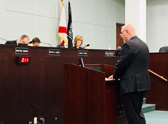 United Way of Brevard President Rob Rains addresses the Brevard County Commission in support of the Brevard Children's Services Council. On the dais are, from left, County Commission Vice Chair Bryan Lober, Commissioner John Tobia and County Attorney Eden Bentley.