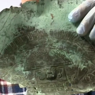 A recently washed-up ancient Peruvian funeral mask is believed to be part of a $4 billion sunken treasure off the coast of Melbourne Beach.