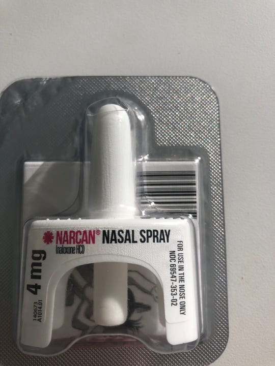 Narcan, also known by its generic name naloxone, can reverse an opioid overdose. Seen here as a nasal spray on Jan. 22 2019.
