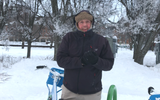 Ted Gay of Medway, Massachusetts, swore he would bike every day in January. He kept that pledge on the Burlington waterfront on Jan. 21, 2019.