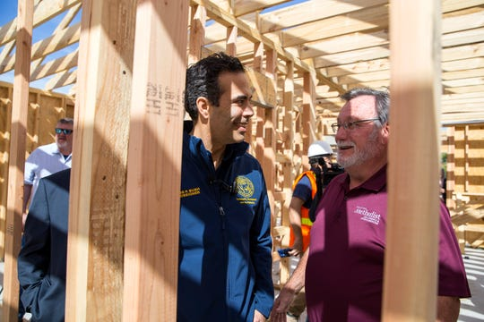 Texas Land Commissioner George P. Bush (left) and Fulton Mayor Jimmy Kendrick tour the home of a Rockport family during a walkthrough showing progress on Tuesday, January 22, 2019 in Rockport. Their home was damaged by Hurricane Harvey and was beyond repair and under the Homeowner Assistance Program they are getting the help they needed to get their home rebuilt. The General Land Office has allocated more than a billion dollars to the program, which will help thousands of Texans who were affected by Hurricane Harvey recover.