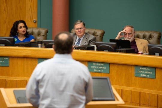 Realtor Mark Adame who represents the Carmelite Sisters  answers questions from city council about a proposal to rezone the former Mount Carmel nursing home on Tuesday,  Jan 22, 2019.