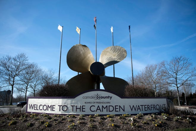 A welcome sign for the Camden Waterfront at the west end of Dr Martin Luther King Blvd Friday, Jan. 11, 2019 in Camden, N.J.