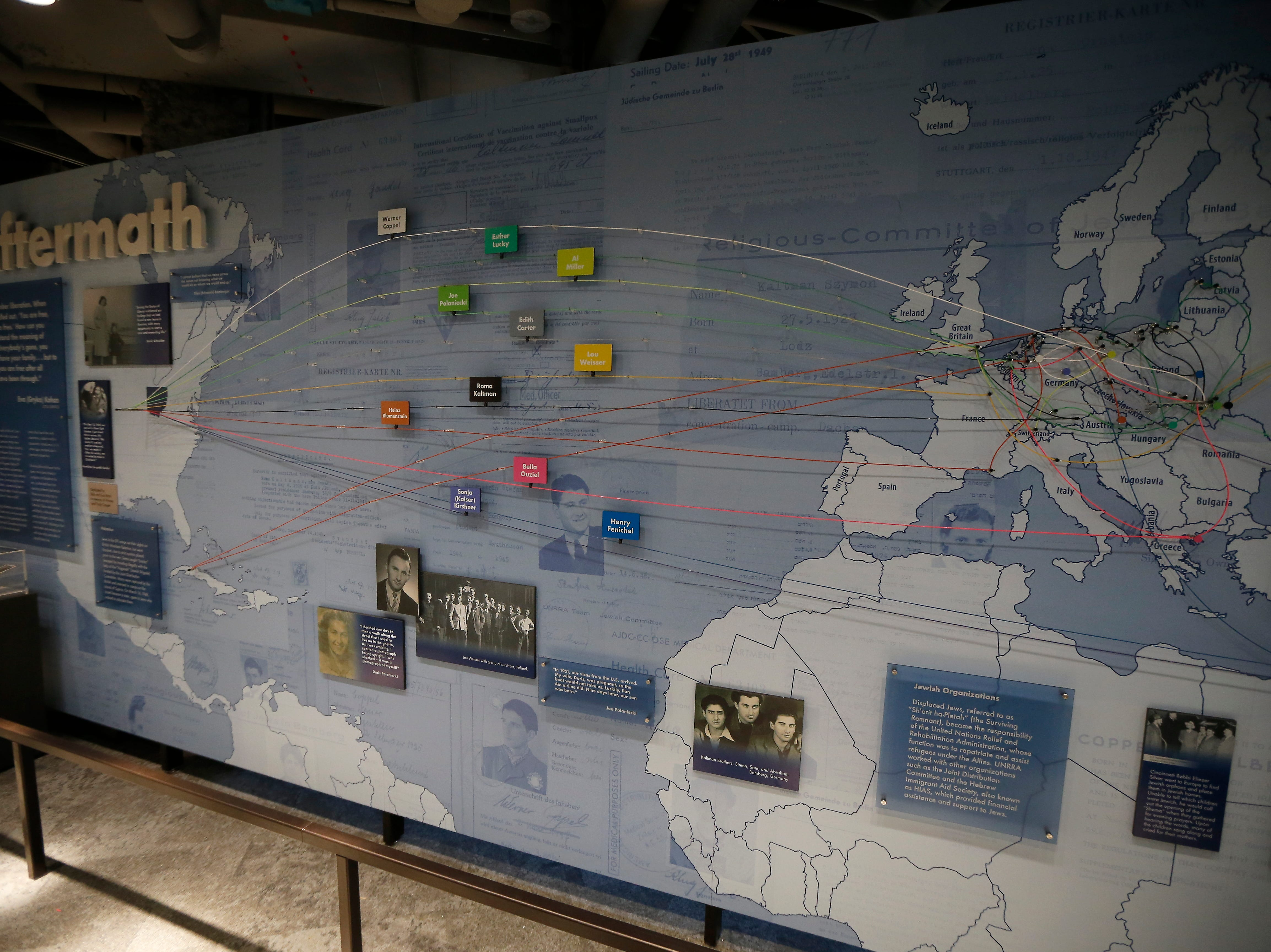 A display of all the different locations that locale Holocaust survivors came to Cincinnati from is shown in the new Holocaust and Humanity Center at the Cincinnati Museum Center in the Queensgate neighborhood of Cincinnati on Tuesday, Jan. 22, 2019. The new exhibit covering the events before, during and after the Holocaust will be open to the public Jan. 27.
