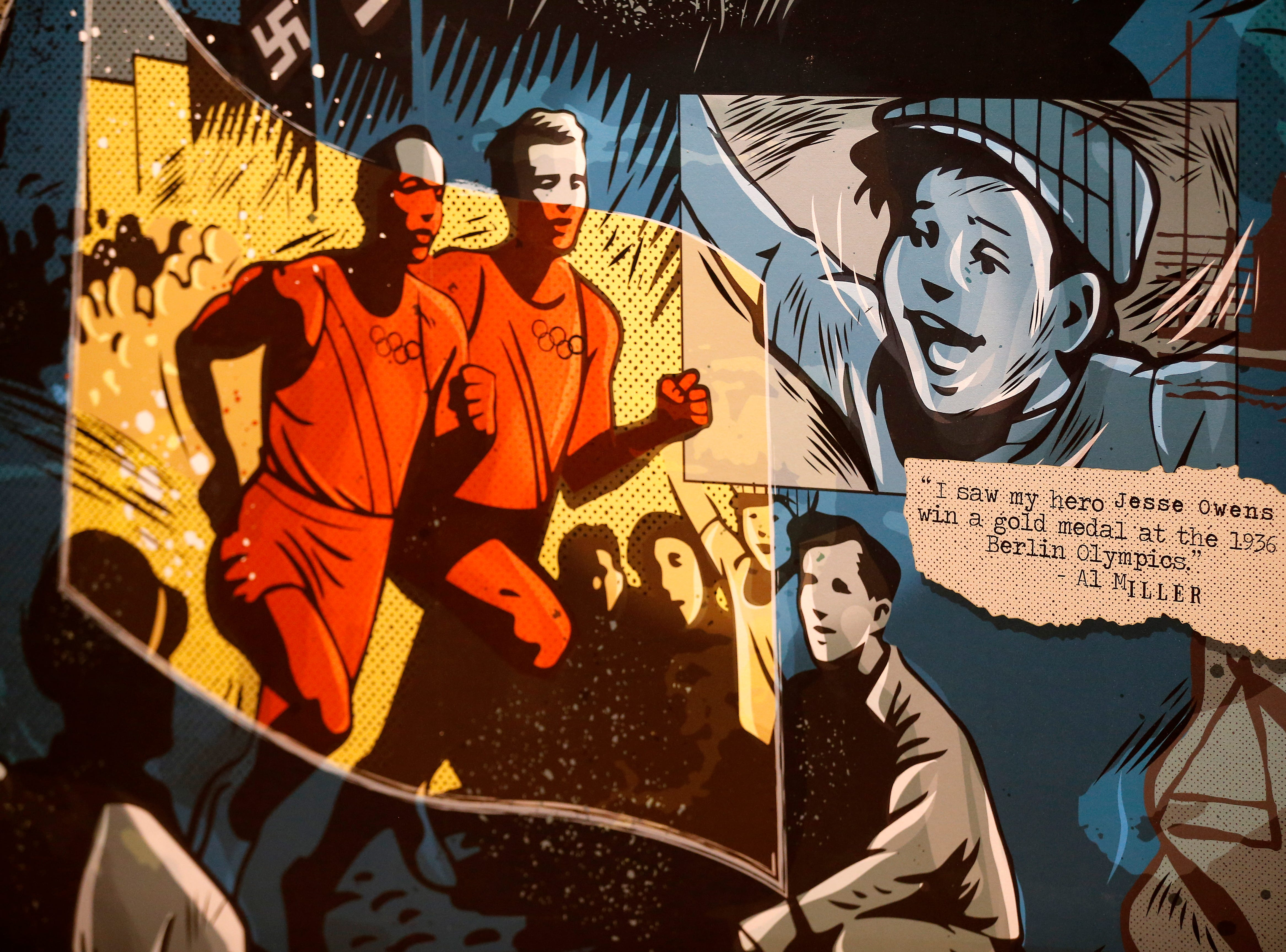 The stories of local Holocaust survivors, including Al Miller,  is depicted in a graphic novel style in the first section of the new Holocaust and Humanity Center at the Cincinnati Museum Center in the Queensgate neighborhood of Cincinnati on Tuesday, Jan. 22, 2019. The new exhibit covering the events before, during and after the Holocaust will be open to the public Jan. 27.