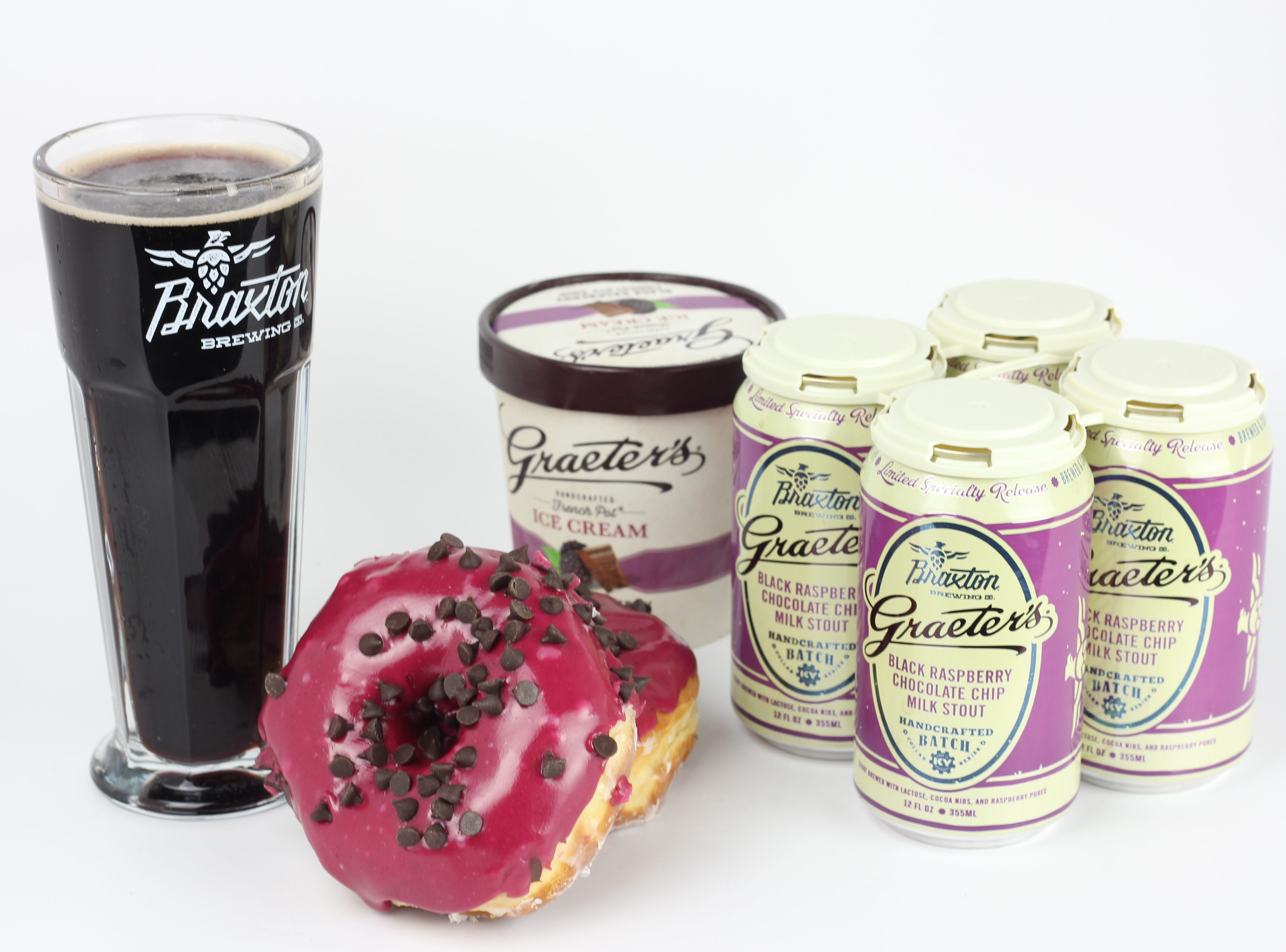 Graeter's and Braxton Brewing Company are relaunching Black Raspberry Chocolate Chip Milk Stout. To mark the occasion, Graeter's is releasing Black Raspberry Chocolate Chip Doughnuts.