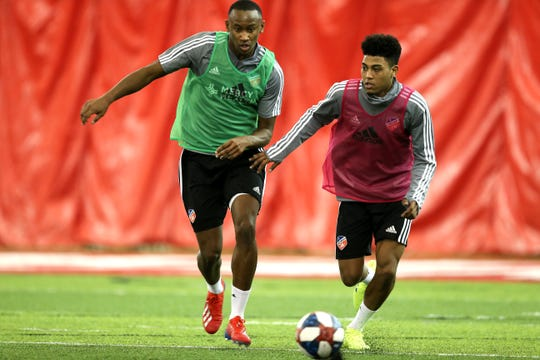 Rashawn Dally, left, and Logan Gdula, right, during FC Cincinnati practice, Tuesday, Jan. 22, 2019, at the Sheakley Athletics Center in Cincinnati.