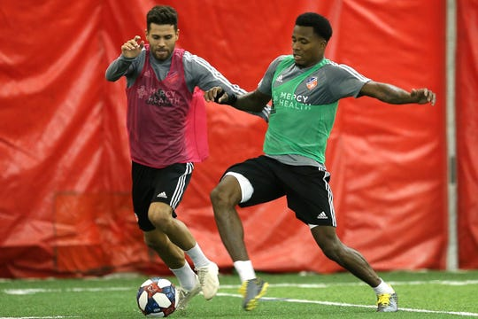 Leonardo Bertone and Alvas Powell participate during FC Cincinnati practice, Tuesday, Jan. 22, 2019, at the Sheakley Athletics Center in Cincinnati.