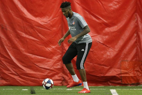 Hassan Ndam participates in FC Cincinnati practice, Tuesday, Jan. 22, 2019, at the Sheakley Athletics Center in Cincinnati.